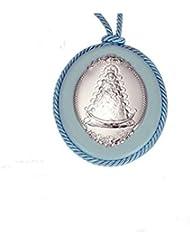MEDALLA DE CUNA en Plata de Ley de color Azul CON VIRGEN DEL ROCIO.