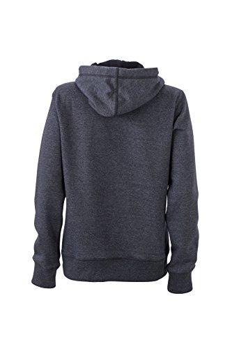 James & Nicholson Damen Hoody Sweatshirt Blau (Dark-Denim-Melange)