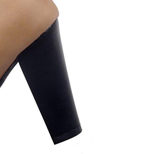 AgooLar Damen Rund Schließen Zehe Schnüren Hoher Absatz Niedrig-Spitze Rein Stiefel Gelb