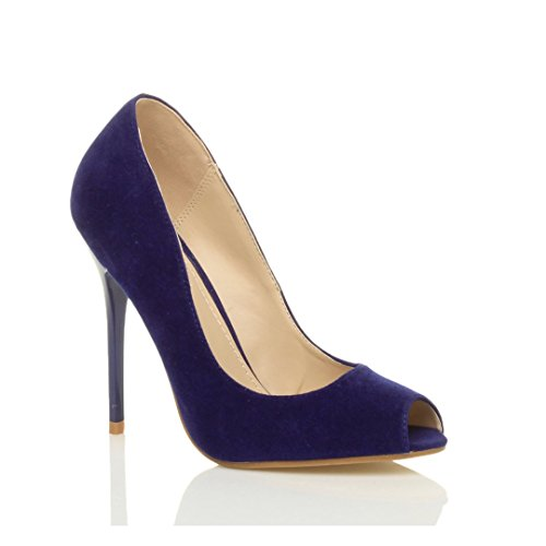 Femmes talon haut fête simple bout ouvert escarpins chaussures sandales pointure Cobalt bleu daim