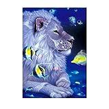 Niulyled Diamond Painting–5D DIY Diamond Painting Kits, resina, ricamo dipinti Arts Craft for home Wall Decor, Full drill, leone e pesci, 30× 40cm