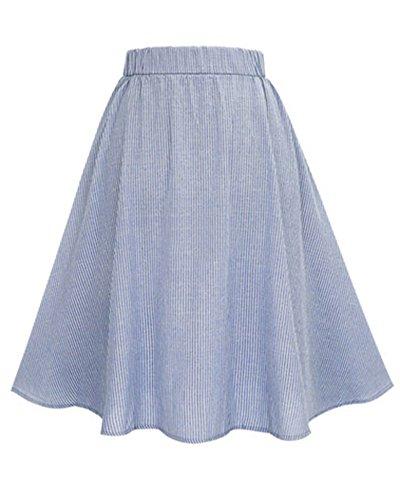 Damen Frauen Hohe Taillen Streifen Ausgestelltes Rock A-Linie Faltenrock Blau