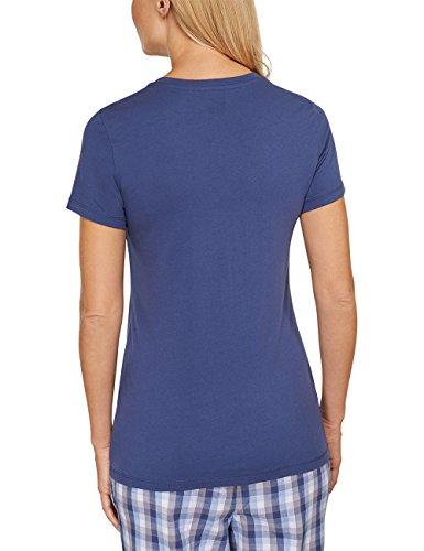 Schiesser Damen Schlafanzugoberteil Shirt 1/2 Arm Blau (dunkelblau 803)
