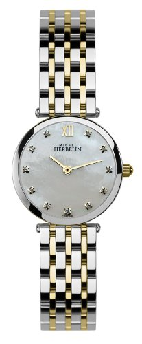 Michel Herbelin Women's Quartz Watch with Mother of Pearl Dial Analogue Display and Multicolour Stainless Steel Bracelet 1045/BT59