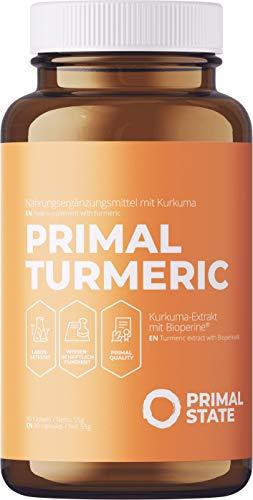 Kurkuma Kapseln Hochdosiert | PRIMAL TURMERIC | Hochdosiertes Curcuma + Bioperin (Schwarzer Pfeffer Extrakt) | Premium Kurkumin ohne Zusatzstoffe | Laborgeprüft | 3 Monatspackung - 90 vegane Kapseln
