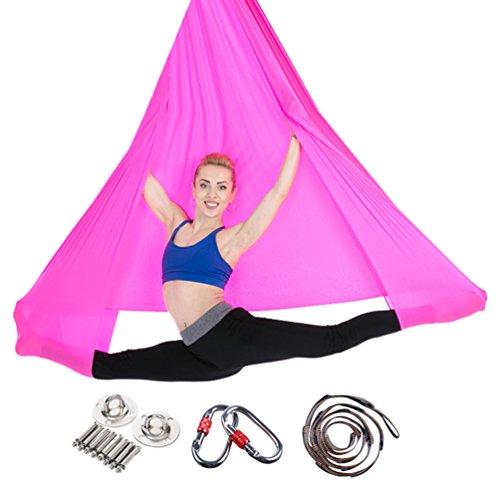 Yuanu multifunzione aereo yoga amaca ultra forte safe durevole anti-gravità yoga hammock/inversione strumento per yoga esercizio rose rosso taglia unica