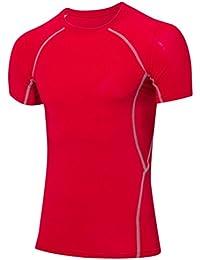 2ab9e8120593f Yujeet Moda Deportiva Fitness Secado Rápido Apretado Compresión Manga Corta  Camiseta para Hombre Ligera Y Transpirable Base Camisa…