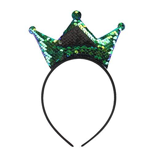 Qinlee Haarreifen mit Krone Glitter Pailletten für kinder Haarband Prinzessin Stirnband Party Geburtstag Kopfschmuck Krone Haarreif Haarband Accessoires-Grün (Blume Prinzessin Samt Kind Kostüm)