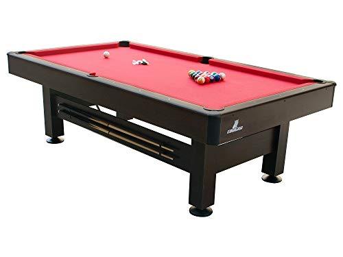 Beauty.Scouts Billardtisch Warren in braun aus Holz 245x135x79cm Pool-Table Billard Tisch Billard-Set Tischplatte Queues Kugeln -