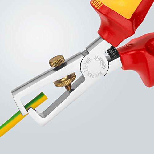 Knipex 11 06 160 Abisolierzange (verchromt isoliert, mit Mehrkomponenten-Hüllen, VDE-geprüft, 160 mm)