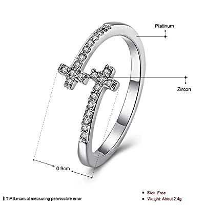 Elegant Cross Ring Wedding Band Engagement Christian For Women Girl Mother Birthday Gift Adjustable by Missrui