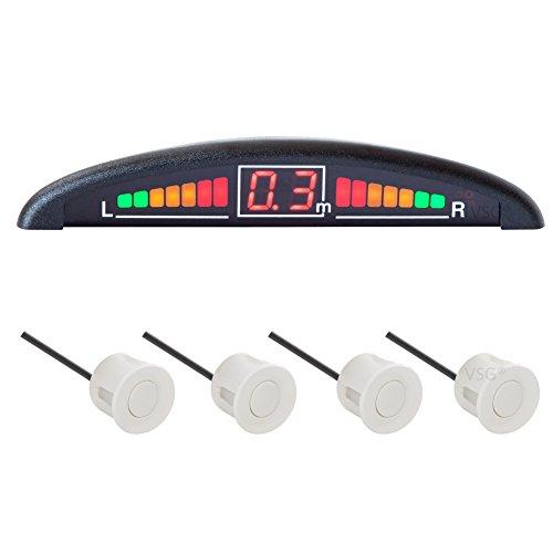 VSG R4S Einparkhilfe mit Farb-Display und eingebauten Pieper inklusiv 4 Sensoren in weiß für vorne