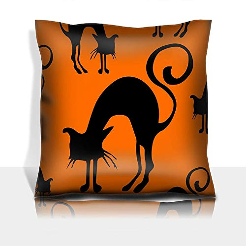 se Cotton Satin Comfortable Decorative Soft Pillow Covers Protector Sofa 18x18 1 Pack Halloween Seamless Pattern Black and orange with Cats Hand Drawn ()
