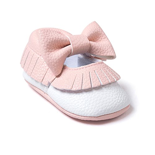 OverDose Baby-Kind Kids Jungen-Mädchen bowknot Quasten Schuh-Kleinkind -weich Sohle Sneakers Lässige Schuhe 0-6 Monate 6-12 Monate 12-18 Monate (0-6 Monate, Rosa)