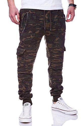 behype. Cargo Sporthose Trainingshose Biker Hose 60-2134 Camouflage-Khaki XL