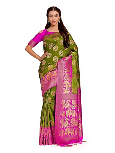 Art Silk Saree Kanjivarm Pattu Style with Contrast Blouse Color: Green Color Silk Saree