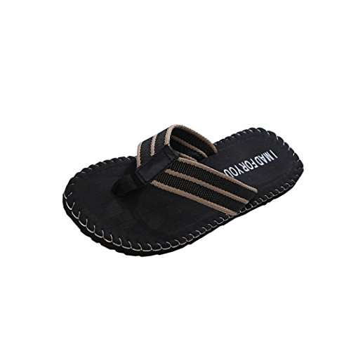 LANDFOX Männer Flip-Flops Mode Rutschfeste Atmungsaktive Hausschuhe Sandalen und Hausschuhe Sommer Schuhe Sandalen männlichen Slipper Indoor Oder Outdoor (44 EU, Schwarz) -