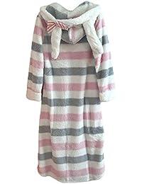 MYMYG Mujer Pijamas Invierno Vestidos de Rayas Vestidos con Orejas de Conejo Vestido Suelto Manga Larga