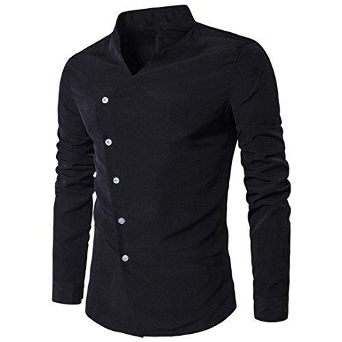 Feixiang camicia da uomo t-shirt shirts camicia camicie polo camicetta cappotto giacca maglione felpe hoodie pullover maniche lunghe moda personalità casual slim top m~l2 (nero, m)
