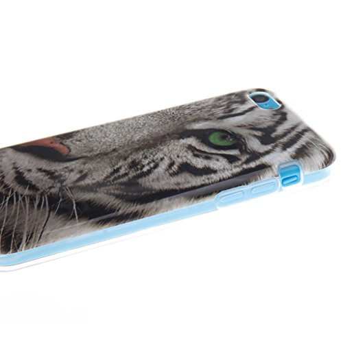 """SsHhUu iPhone 5c Coque, Personality Animal Ultra Slim Doux TPU Flexible Durable Gel Silicone Protecteur Rear Skin Painting Art Étui Housse Case Cover Pour Apple iPhone 5c 4.0"""" Green Eyes Tiger"""