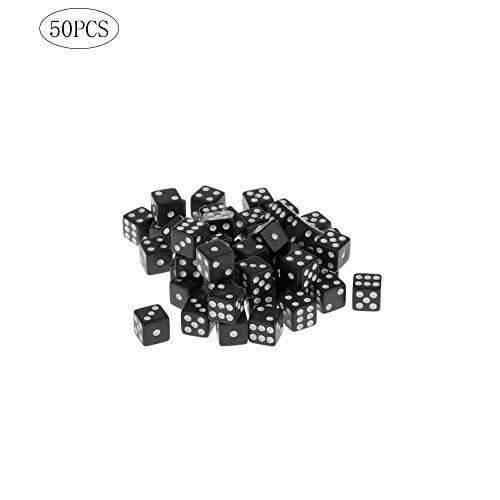 Wilk confezione di massa di 50 dadi con il bianco pips punti per giochi di società attività casinò tema 12mm nero 50pcs