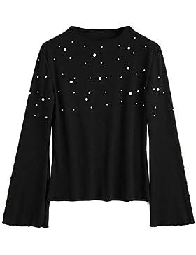 PASSOSIE Suéter Mujer Ancho Jersey de Invierno Casual Jerséis Cuello Alto Sweater Acanalado de Perlas Camiseta...