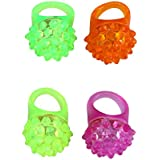 TOYMYTOY 4pcs Flashing LED Bumpy Jelly Ring Light Up Finger Toys Party Favor Supplies (Random Color)