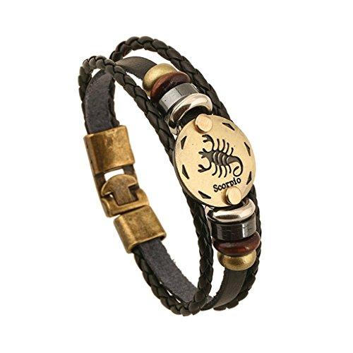 Gnzoe Herren/Damen PU Leder Armband Korn-Armband Skorpion Konstellation Retro Geschenke Lederarmband Partnerarmbänder Schwarz
