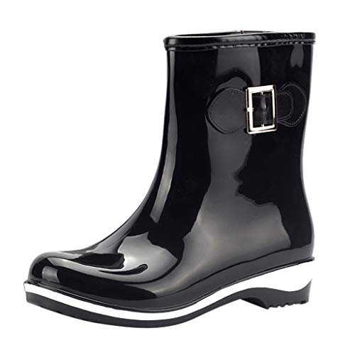 LRWEY Long Leg Half-Height Wellies Easier On & Off Good for Wider Calf Fitting Women