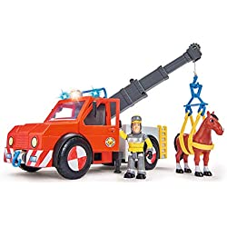 Simba 109258280 - Feuerwehrmann Sam Phoenix Rettungsfahrzeug mit Figur und Pferd