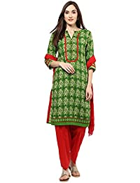 Jaipur Kurti Women's Rayon Geometric Print Suit With Red Patiala Suit Set (Green)