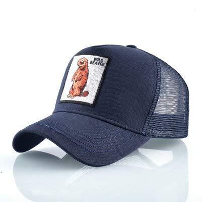 CHHBQM Gorra De Beisbol Gorras De Los Hombres De Verano Transpirable Gorra De Béisbol De Las Mujeres Fresco Streetwear Lobo Bordado Camionero Huesos Unisex Sombreros Hombre 56-60 Cm Azul Castor