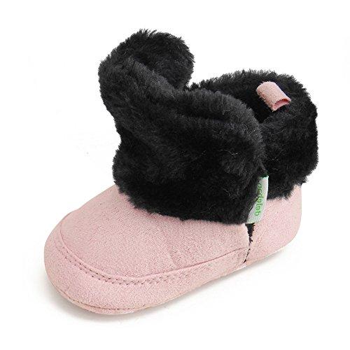 Delebao scarpe neonato stivaletti bambina invernali suola morbida scarpe bimba con pelo calzature per bambini ragazzi e ragazza (nero&rosa,12-18 mesi)