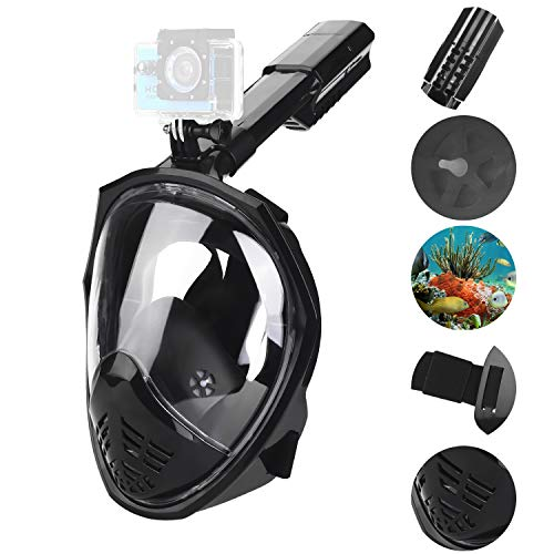 Tauchmaske 180°vollgesichtsmaske L/XL Schnorchelmaske Kinder Erwachsene mit Verstellbaren Kopfbändern + Schnorchel+Abnehmbare Kamera Halterung Antibeschlag und Anti-Leck