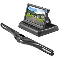 Pyle PLCM4500 - Monitor a scomparsa universale e supporto per telecamera posteriore da retrovisore con linee della scala di distanze incorporate, colore: Alluminio/Nero/Cromato