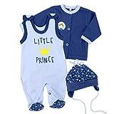 Baby Sweets Baby Set Strampler + Shirt + Mütze Jungen blau | Motiv: Little Prince | Babyset 3 Teile für Neugeborene & Kleinkinder | Größe: 6 Monate (68)