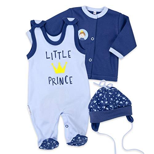 Baby Sweets Baby Set Strampler + Shirt + Mütze Jungen blau | Motiv: Little Prince | Babyset 3 Teile für Neugeborene & Kleinkinder | Größe: 6 Monate (68) -