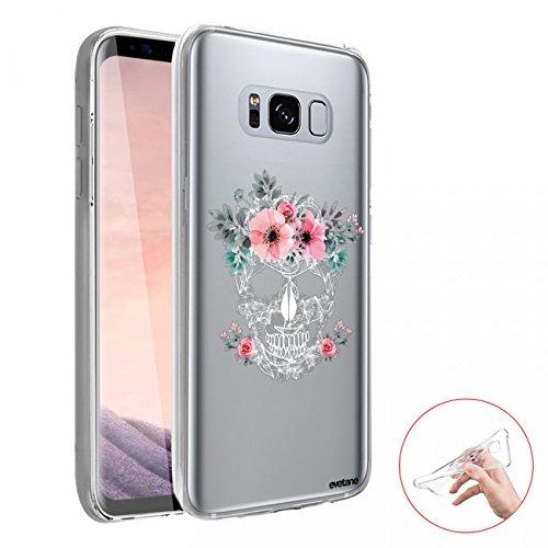 Evetane Coque Compatible avec Samsung Galaxy S8 360 intégrale Coque Avant arrière Resistant Fine Protection Solide Housse Etui Transparente Crâne Motif Tendance
