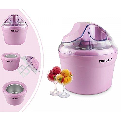 Primelux - Frozen Joghurt Maschine, Eismaschine, Rosa, Watt: 12 W, Schüsselgröße: 20 x 20 x 13,5 cm