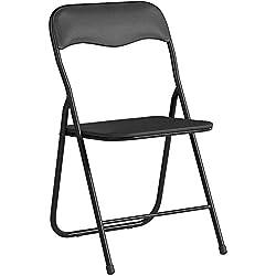 Bricok Lot de 6chaises pliantes fines en métal avec assise rembourrée confortable, idéales pour bureau, maison, camping, jardin, 44x 44x 78cm, noir