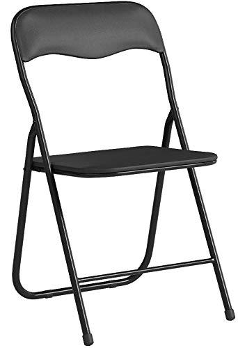 Bricok Set aus 6 Klappstühlen Slim aus Metall, für Büro, Camping, Garten, mit bequemem Sitzpolster, 44 x 44 x 78 cm, Schwarz