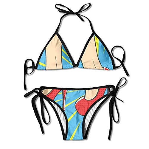 e2f30f0a0c8bc Fashion Women Broken High Heel Pop Art Printing Sexy Two-Piece Bikini Set  Beach Bathing