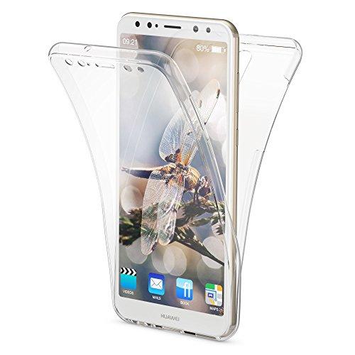 NALIA 360 Grad Handyhülle kompatibel mit Huawei Mate 10 Lite, Full Cover vorne hinten Doppel-Schutz, Dünn Ganzkörper Case Silikon Handytasche Transparenter Displayschutz Rückseite, Farbe:Transparent