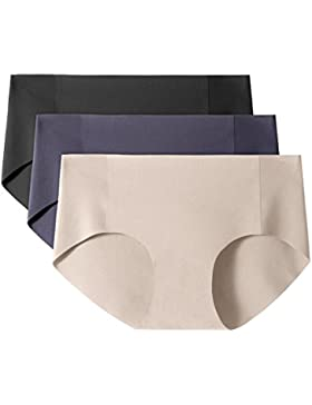LAPASA Pack de 3 Braguitas sin Costuras (Braga Invisible para Mujer) L10