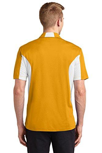sport-tek Herren Hoch Seite blockiert micropique sport-wick Polo Gold/ White