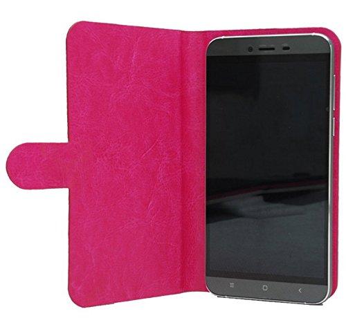 Prevoa ® 丨Flip PU Hülle Case Schutzhülle Tasche für Cubot X12 4G FDD-LTE 5,0 Zoll Smartphone - (Hotpink -)