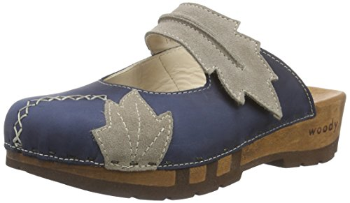 Woody Rebekka Damen Clogs Blau (Avion)