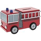 Red Fire Engine Resin Money Box Boys Birthday Christening Gift