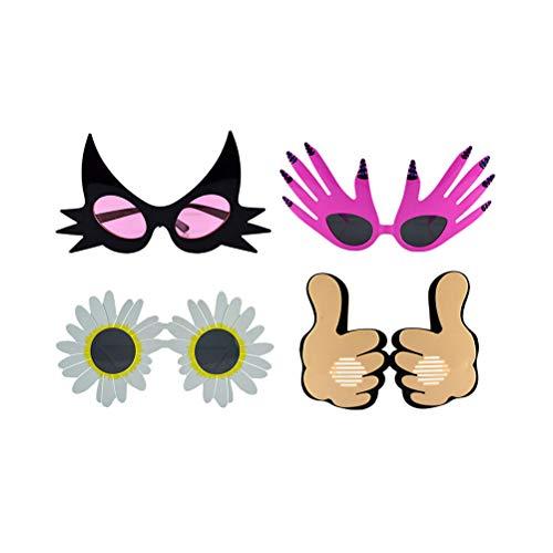 Kostüm Sonnenblumen Katze - Amosfun Party lustige Gläser Sonnenblume Katze Daumen Palm für Halloween Party Supplies 4St