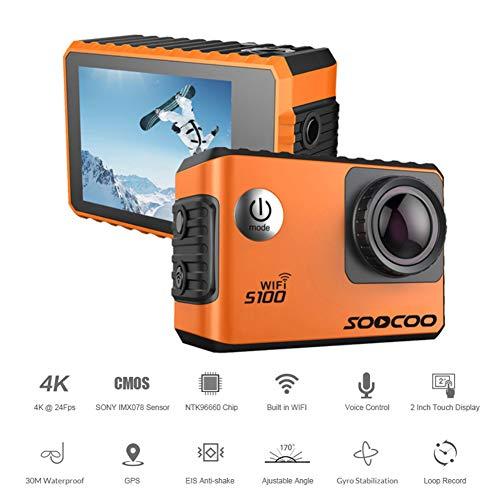 Neoron wasserdichte Action Kamera 4K 20MP Ultra HD 170 Grad Weitwinkel 2 Zoll Touchscreen 2.4G Fernbedienung & Sprachsteuerung Mit WiFi GPS Digitalkamera,Orange (Für Gopro Sd-chip)